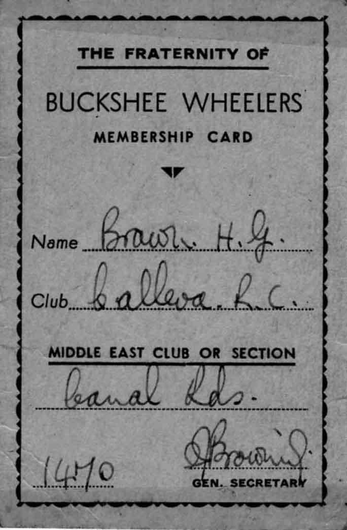 Buckshee Wheelers Membership