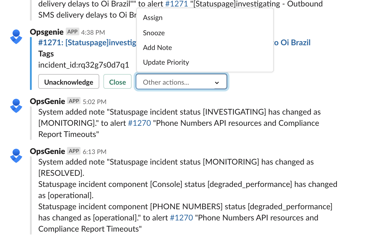 Use easy buttons to manage alerts from Slack.