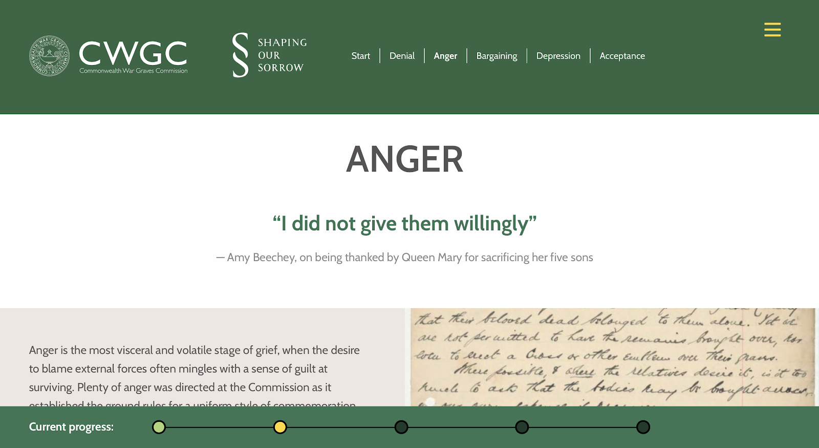 A screenshot of a web page with the heading Anger - I did not give them willingly