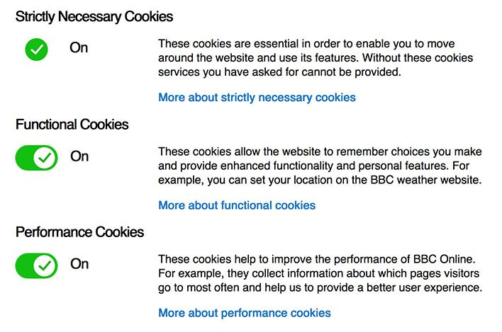 BBC-jeva stranica za promjenu postavki kolačića s mogućnošću prebacivanja