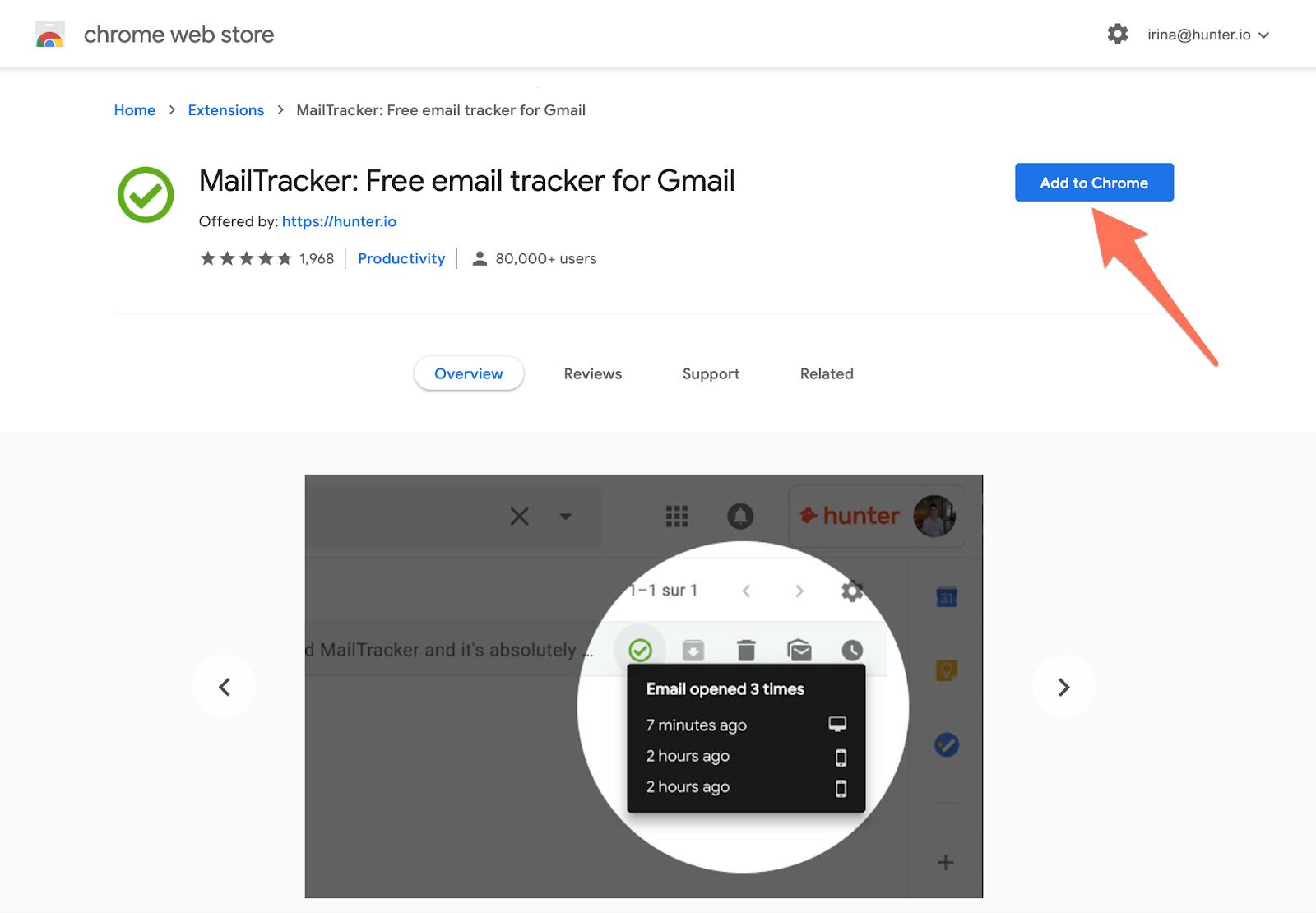 Install Hunter MailTracker Chrome
