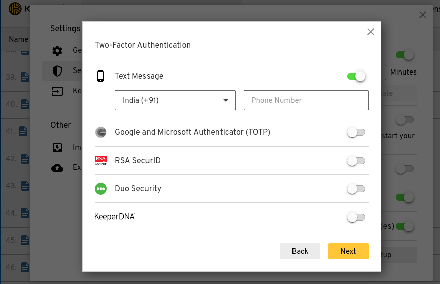 keeper password manager Two factor authentication