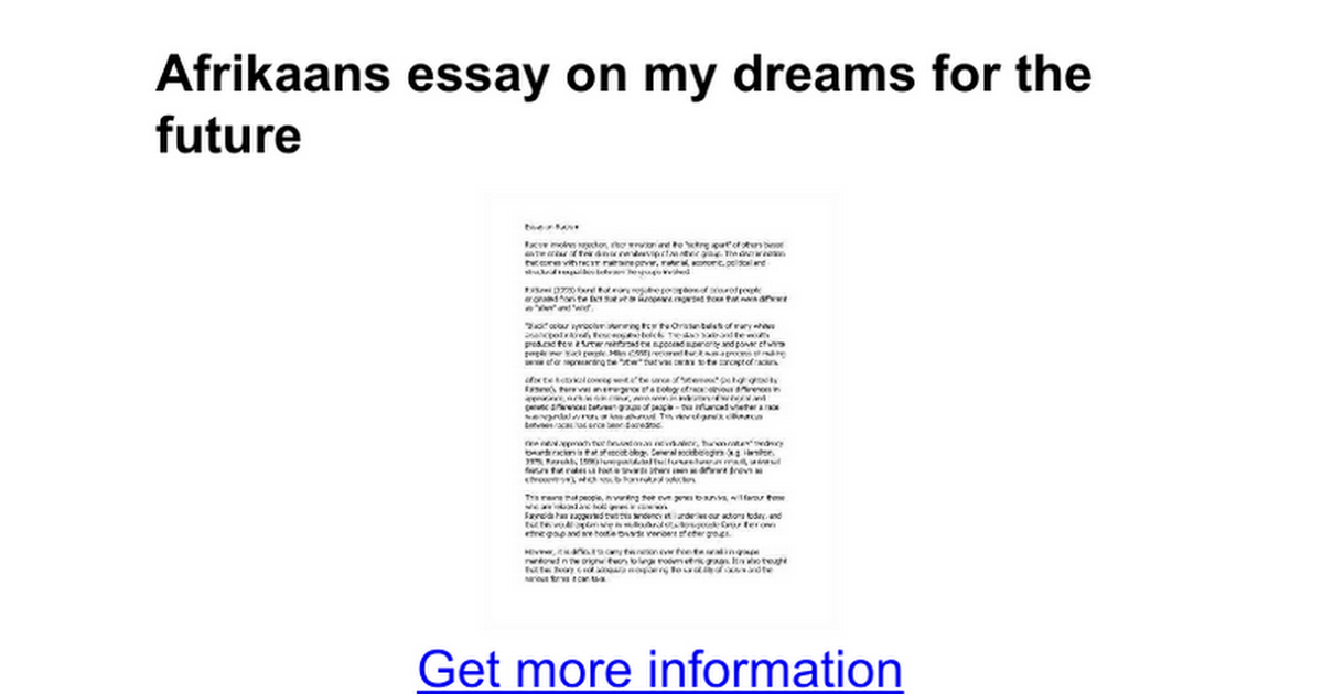 essays about future dreams My future dreams essays everyone has dreams weather they be to become a scientist and discover new and amazing things, or become a star basketball player and be the highest paid player in.
