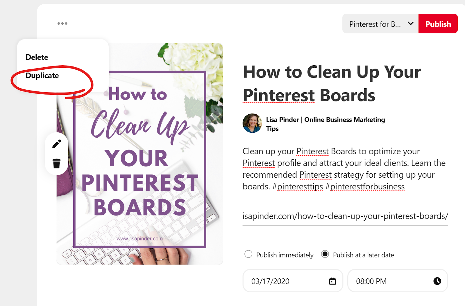 How to duplicate pins to schedule them to more than one board