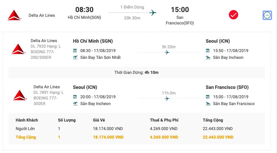 Vé máy bay từ Sài Gòn đi San Francisco của Deilta Air Lines.