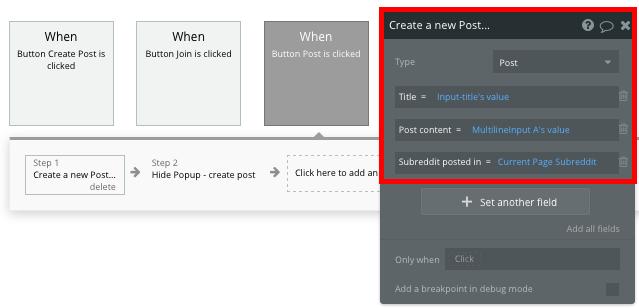 Bubble No Code Reddit Clone Create a Post Workflow Walkthrough
