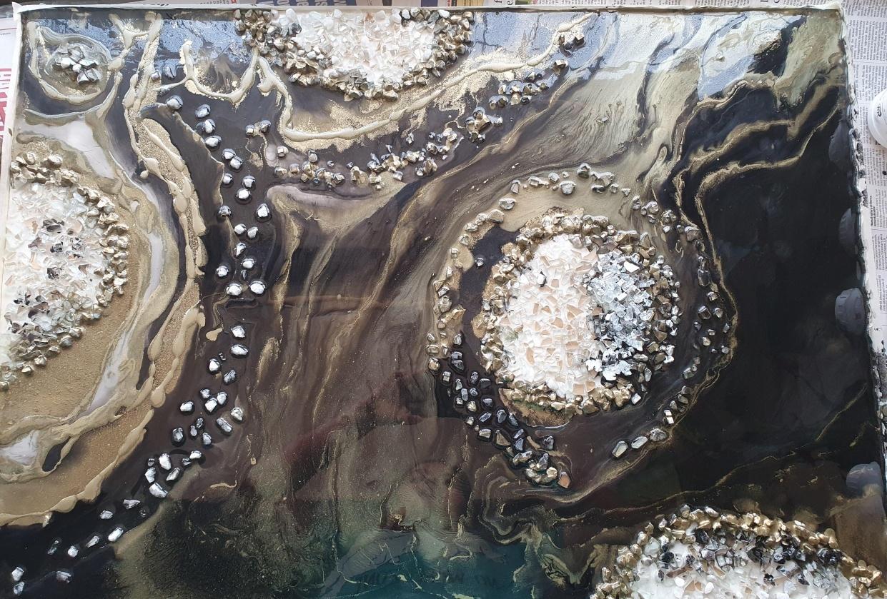metallic gemstone painting
