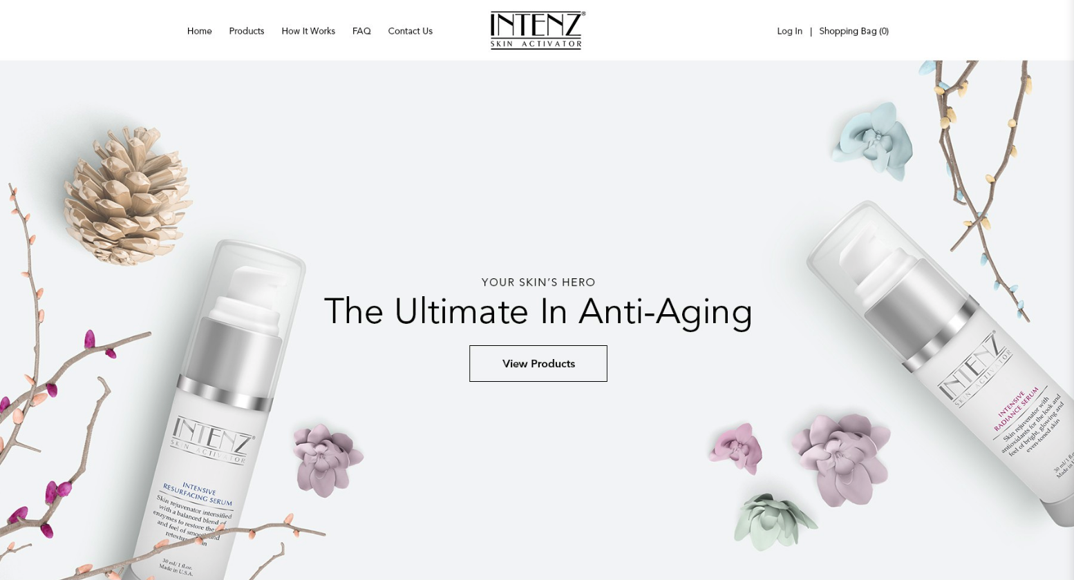 cosmetics company homepage with product image and View Products CTA