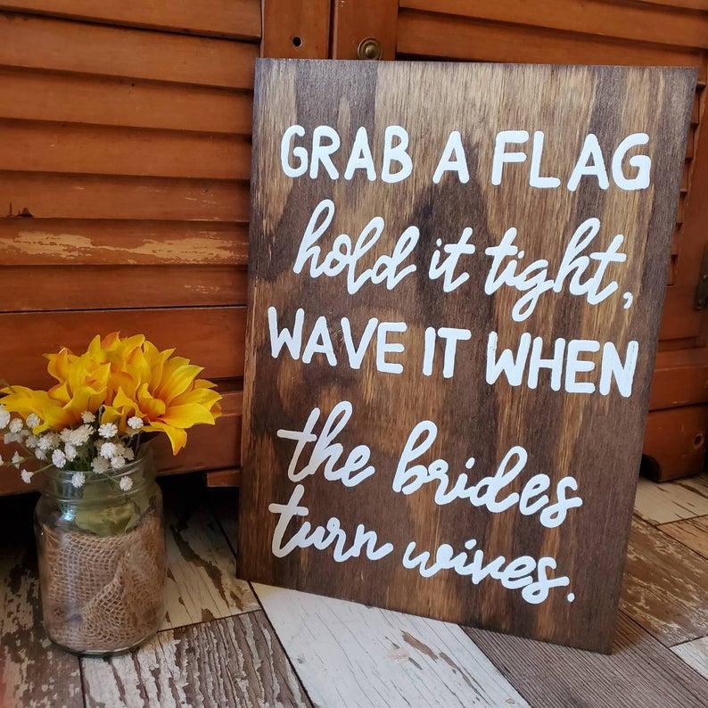 grab a flag sign