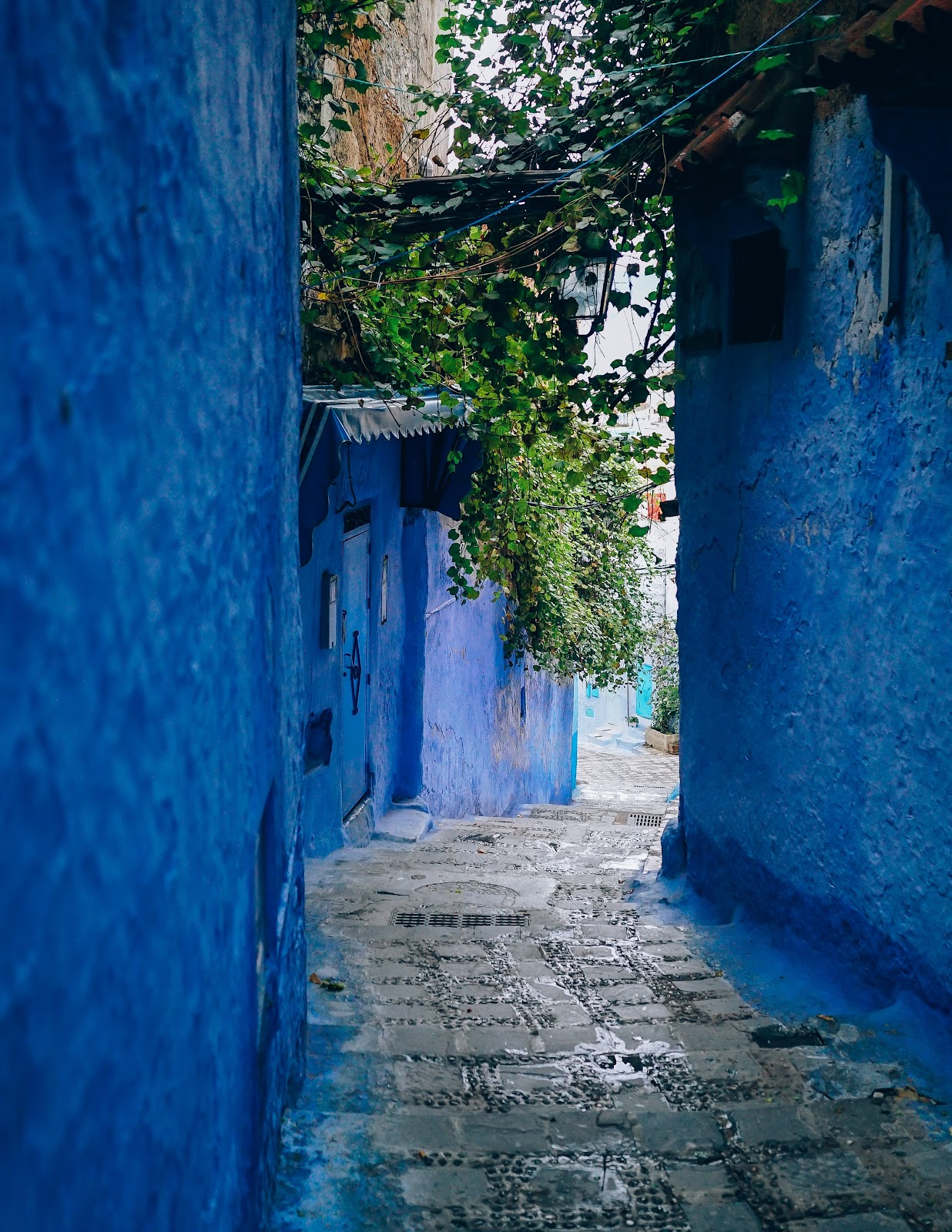alley with blue walls