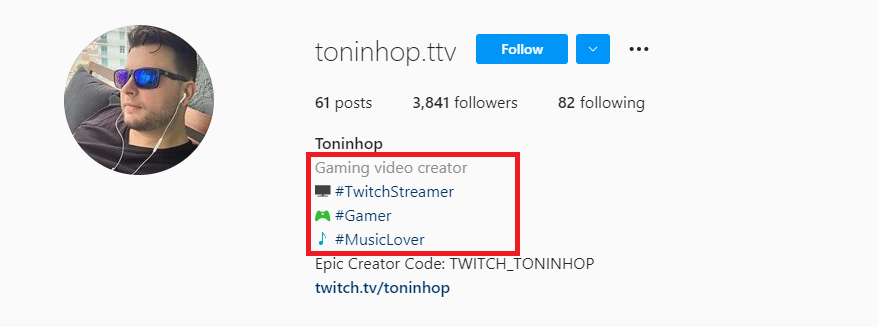 Instagram bio of a gaming micro-influencer