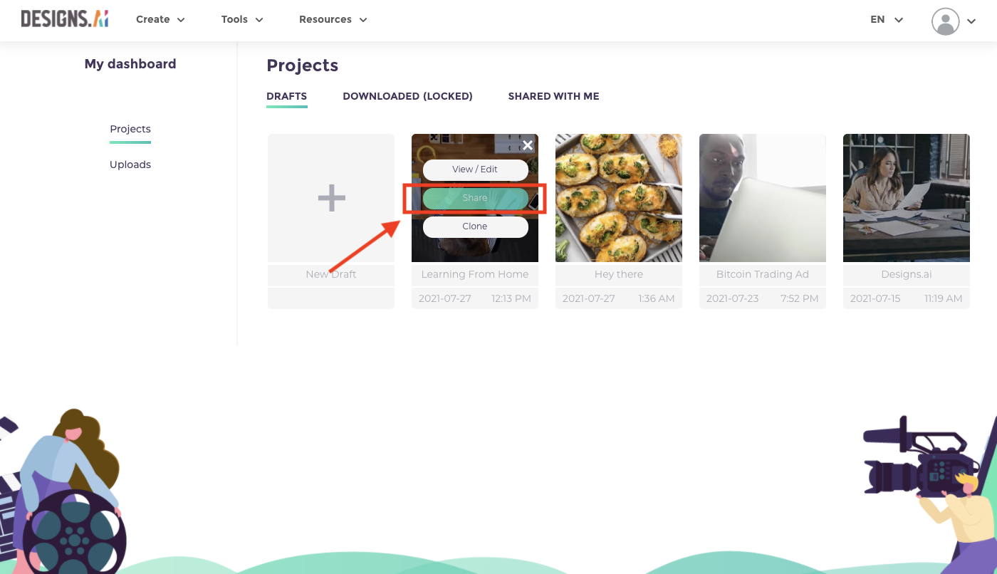 How to share your video projects in Designs.ai - Videomaker dashboard