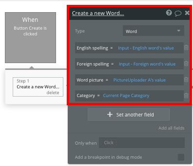 Bubble no code Duolingo clone tutorial creating a new word