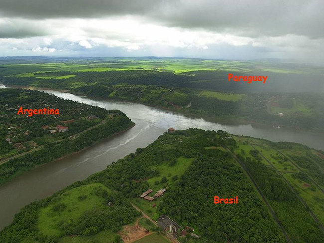 4) Argentina, Paraguay, and Brazil - The point where the Iguazú and Paraná rivers converge is known as The Triple Frontier, connecting the three South American nations.