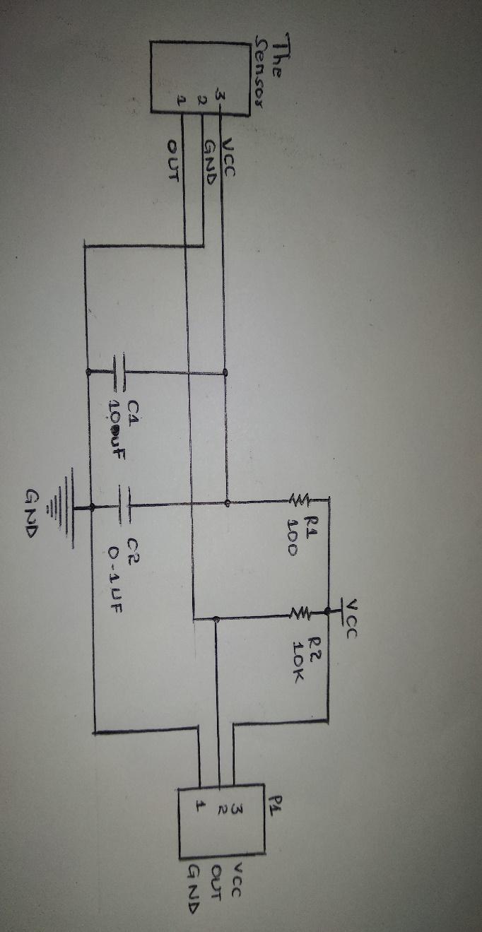 上图显示了 vs1838b 的引脚排列示意图。