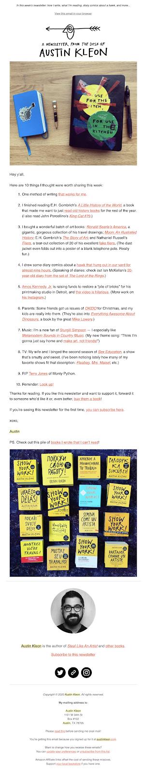 Austin Kleon newsletter
