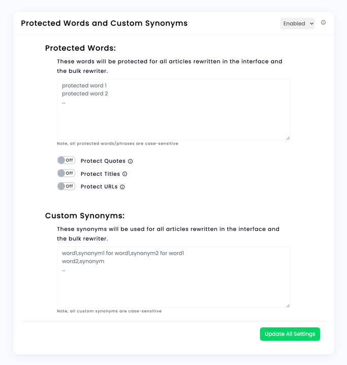 WordAi Version 5 Protected Words and Custom Synonyms