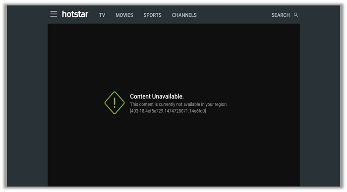 Content unavailable on Hotstar
