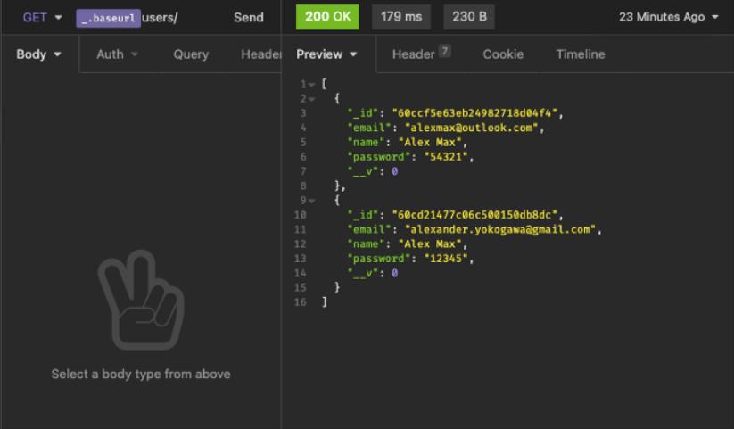 tela com resultado final da instalação e aplicação no CRUD com MongoDB