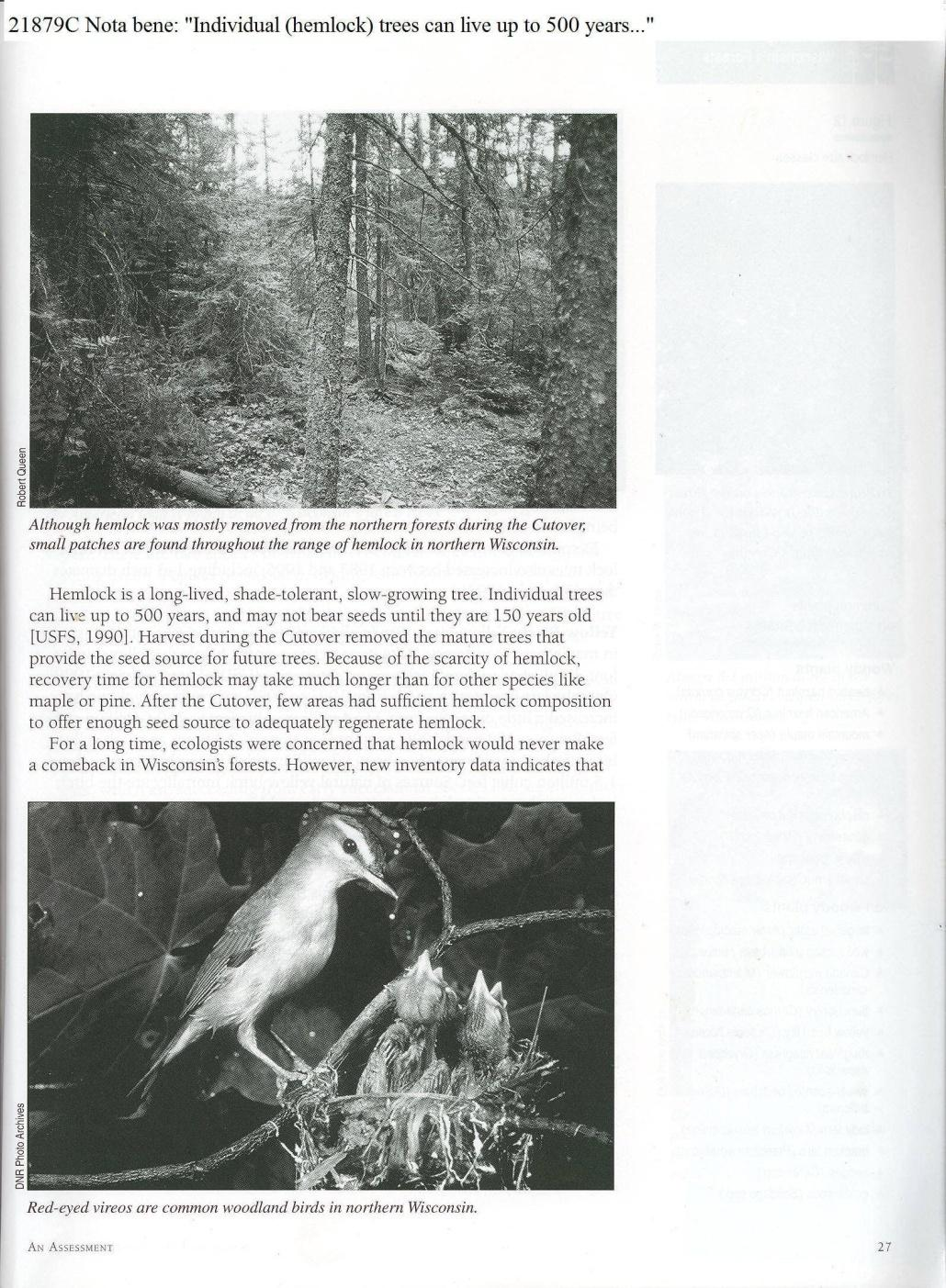 C:\Users\Robert P. Rusch\Desktop\II. RLHSoc\Documents & Photos-Scanned\Rib Lake History 21800-21899\21879C ibid p. 27 …hemlock can live up to 500 years.jpg