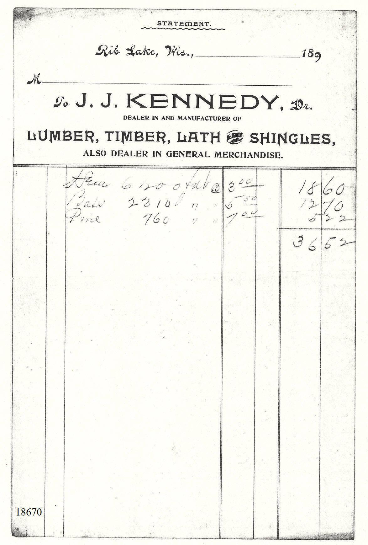 """C:\Users\Robert P. Rusch\Desktop\II. RLHSoc\Documents & Photos-Scanned\Rib Lake History 18600-18699\18670 Statement c. 1891 """"To J.J. Kennedy, Dr., Dealer in and manufacturer of Lumber.jpg"""