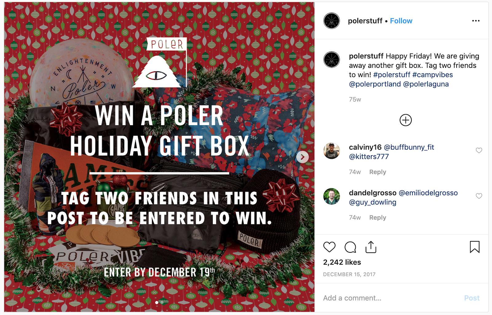 Example of Poler's Instagram giveaway