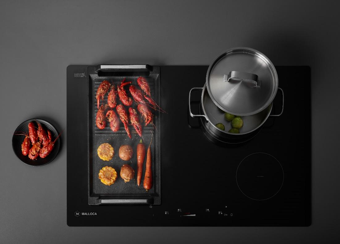 A picture containing indoor, oven, light, kitchen appliance  Description automatically generated