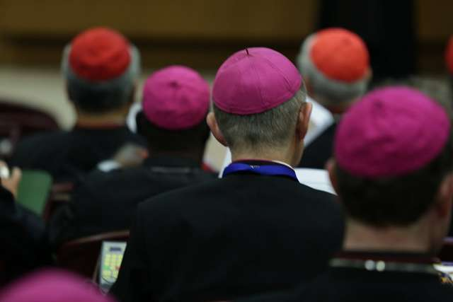 Bishops at the Vatican's Synod Hall, Oct. 14, 2015. Credit: Daniel Ibanez/CNA.