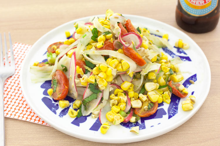 Fennel Stem, Shrimp, And Corn