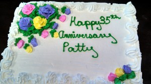 "Cake with text: ""Happy 35th Anniversary Patty"""
