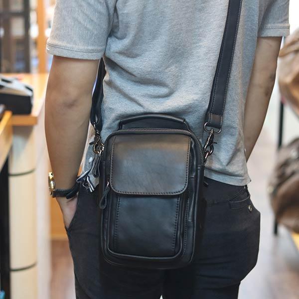 Túi da nam Lano đeo chéo mini loại nhỏ KT75 năng động, gọn nhẹ, cá tính
