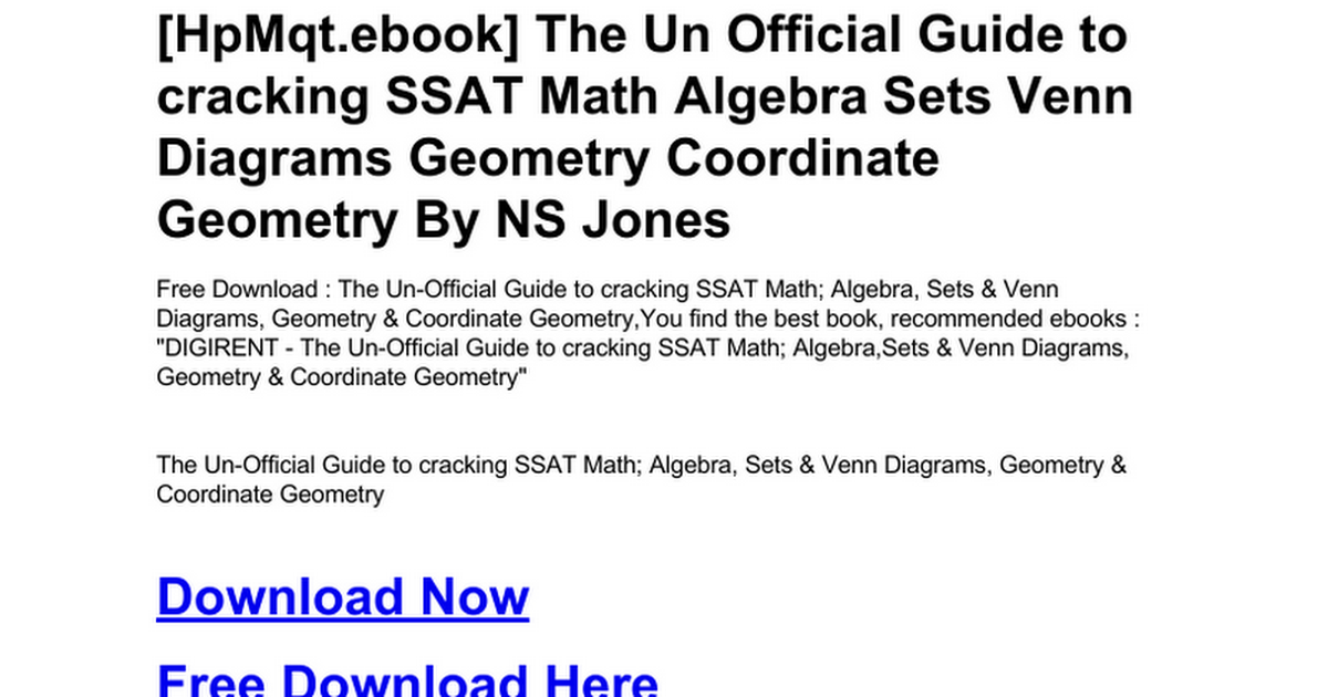 The un official guide to cracking ssat math algebra sets venn the un official guide to cracking ssat math algebra sets venn diagrams geometry coordinate geometryc google docs ccuart Gallery