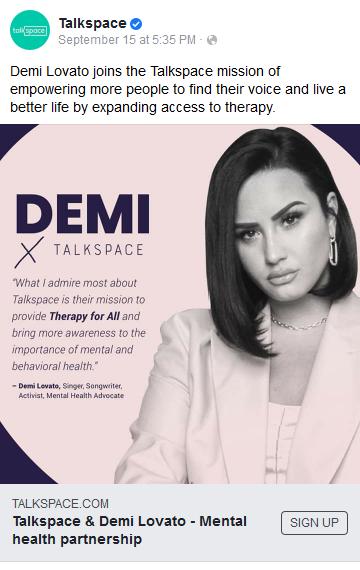 Talkspace ad with Demi Lovato