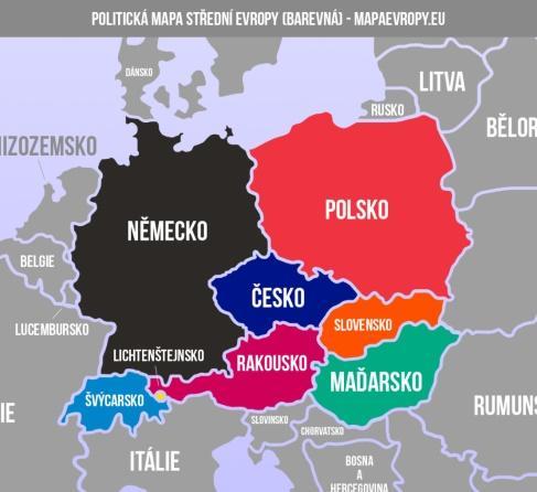 Mapa střední Evropy