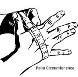 Hand being measured for size with measuring tape.