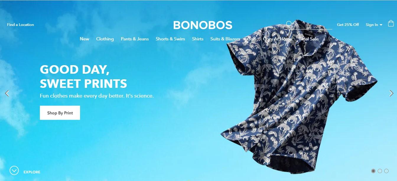 La página de aterrizaje de Bonobos.