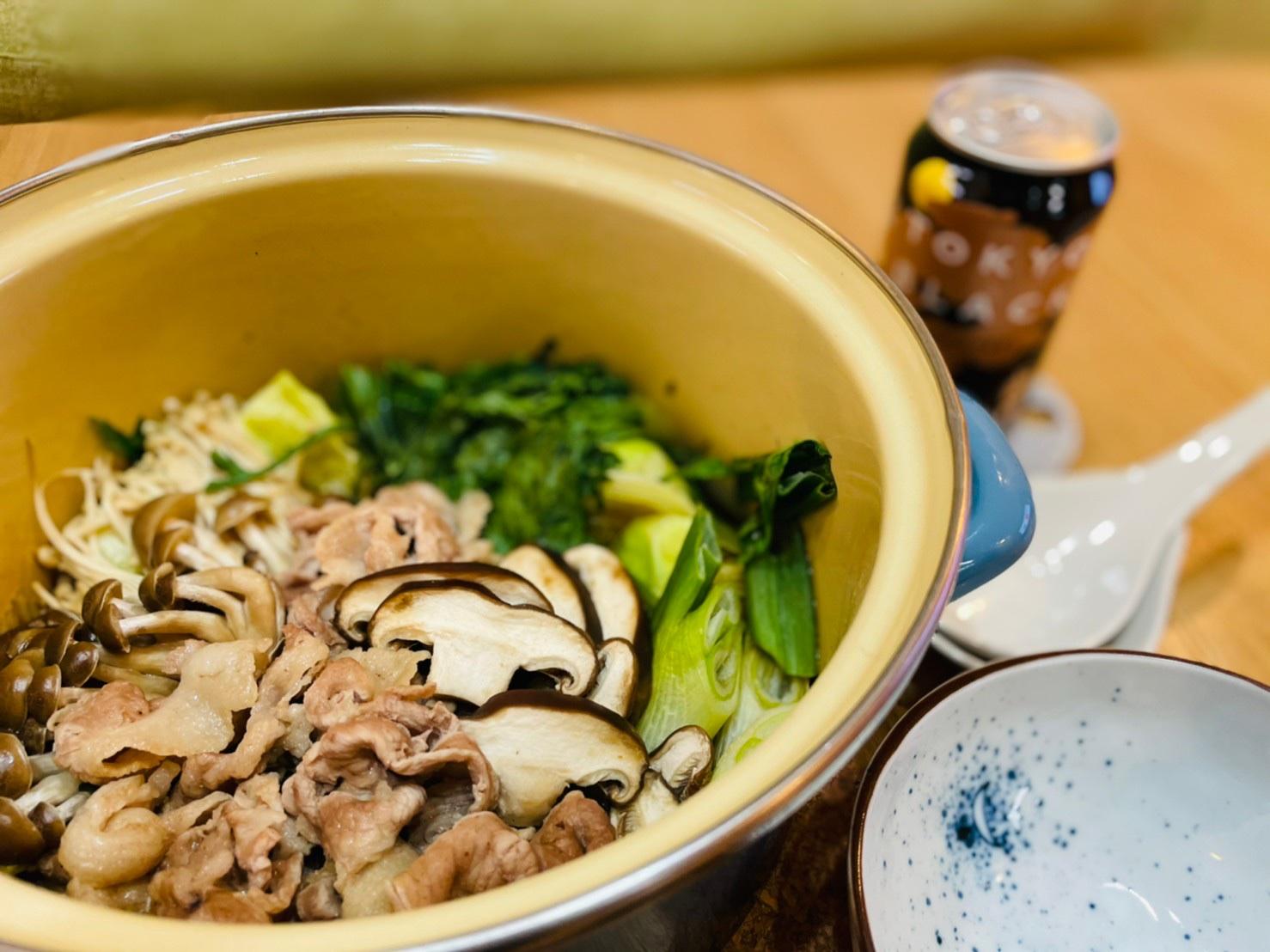 東京ブラックを使った無水ビール鍋