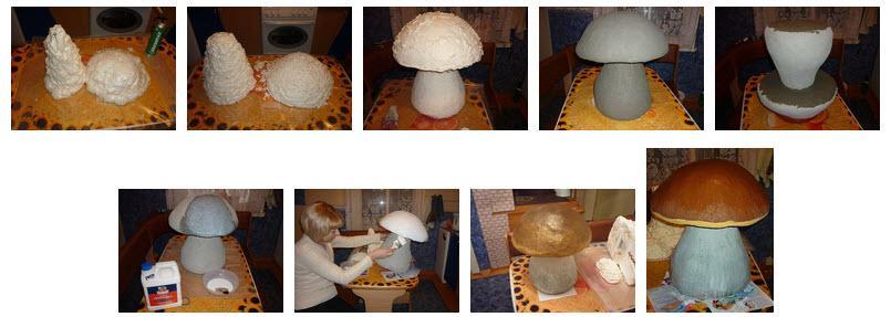 Изготовление садовой фигуры гриб