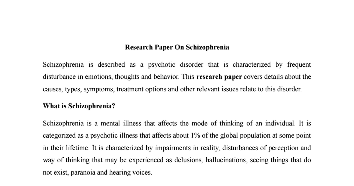 research paper of schizophrenia filetypedoc