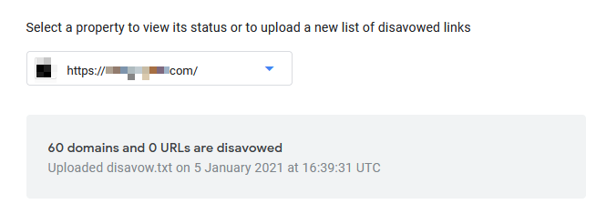 Example disavow file upload.