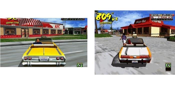Immagini del videogioco Crazy Taxi in cui appaiono i product placement dei ristoranti fast-food KFC e Pizza-Hut. Fonte: Marketing Ignorante