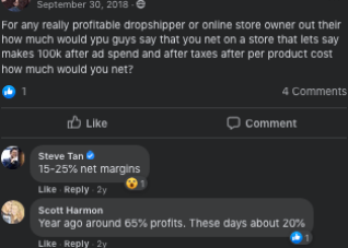 Facebook post about old dropshipping profits versus current profit percentages