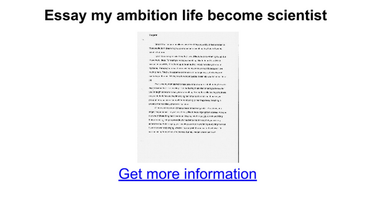 Essay on ambition of my life