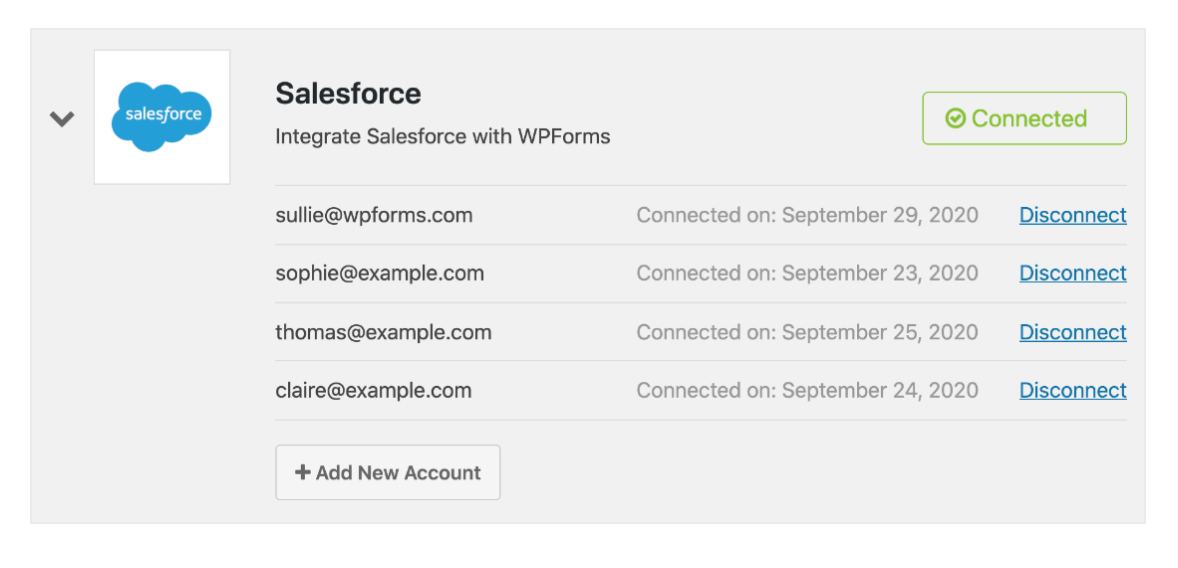 Salesforce WPforms Connect