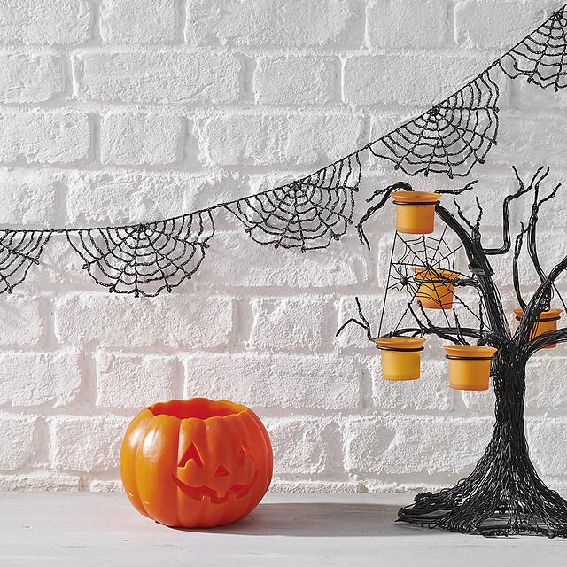 Crochet spiderweb Halloween bunting