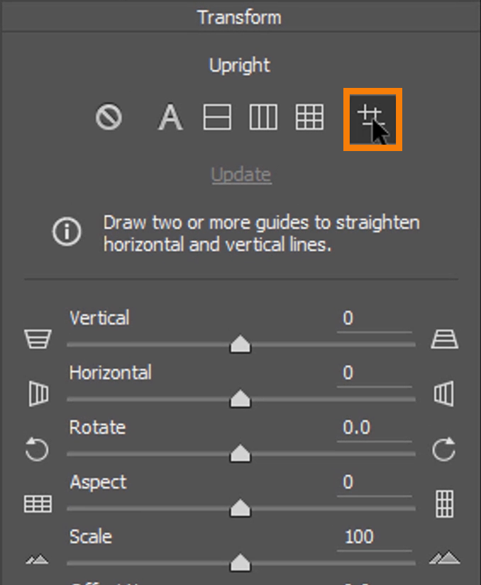 Click on the Guided icon (right-most), then click-and-drag to draw a line, following a vertical or horizontal line along with the building.