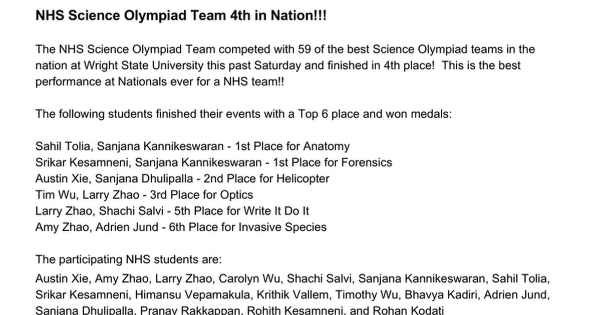 NHS Science Olympiad Team 4th in Nation - Google Docs