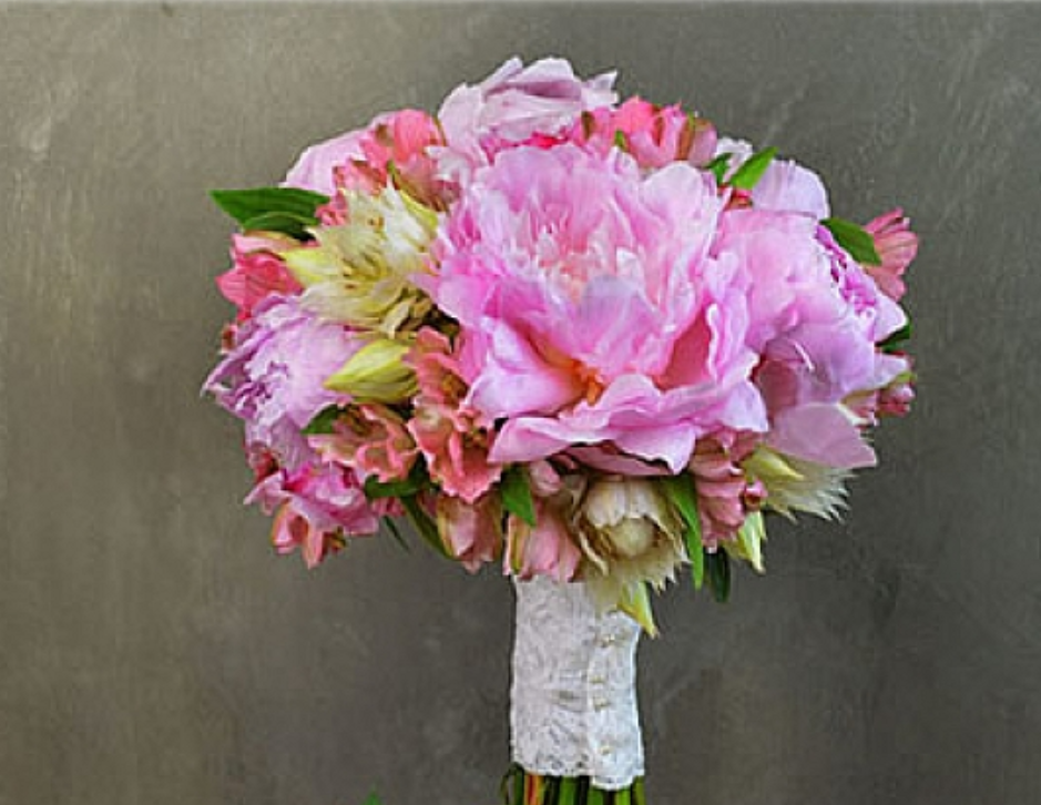 Exotic Flowers-Peonies as a wedding bouquet