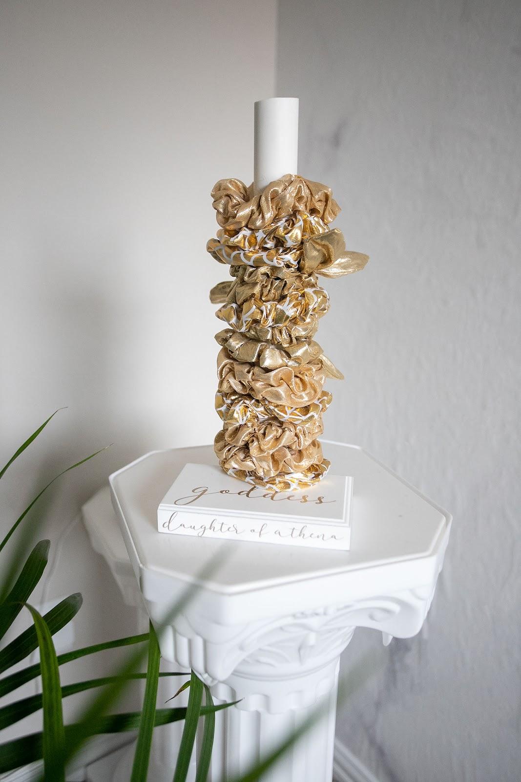 DIY scrunchie holder tutorial using a cricut joy machine. Gold scrunchie tower.