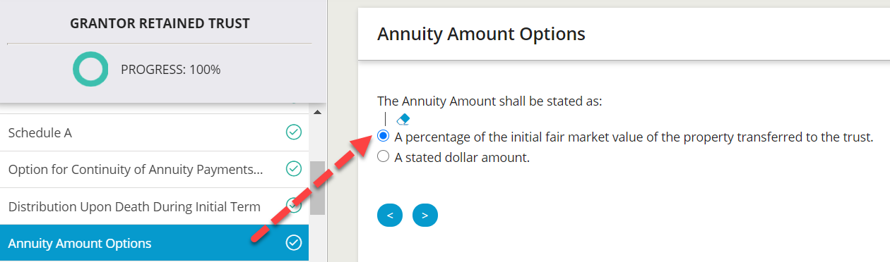 Wealth Docx provides two options for stating the annuity amount.